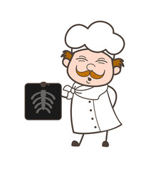 Cartoon Chef Showing X-ray Report Vector Illustration