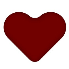 3D Shape Render Red Heart icon isolated white background