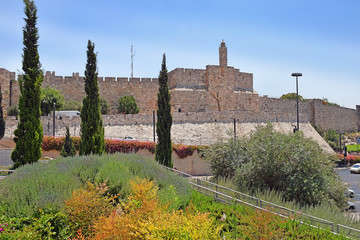 fortress wall of old city of Jerusalem