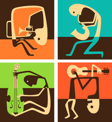 Music festival / Creative conceptual vector. Man playing musical instrument.