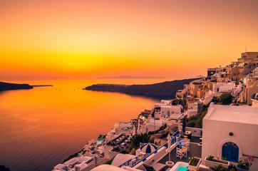 Santorini, Cyclades Islands, Greece. Sunset over Imerovigli near Thira town and Firostefani.