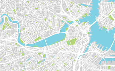 Vector city map of Boston, Massachusetts