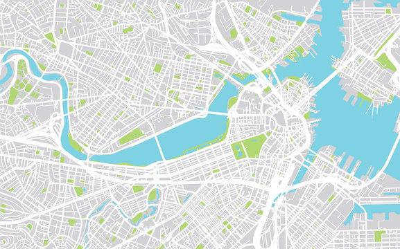 Vector city map of Boston, Massachusetts