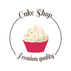 Logo sweet cupcake shop. Template badge logo for bakery. Cake vector illustration