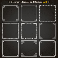 Decorative square frames and borders set 6 vector
