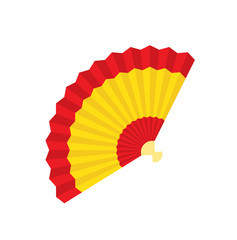 Spanish fan icon. Fan flamenco in flat style isolated on a white background. Vector stock.