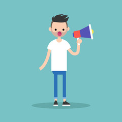 Young character speaking through megaphone / flat editable vector illustration, clip art