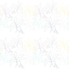 Vector  botanical seamless pattern with  simple hand drawn twigs with leaves and berries.