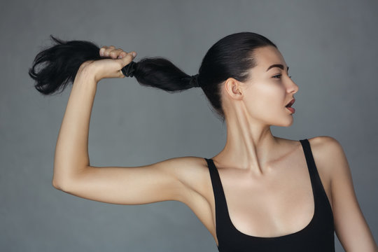 Fashion woman with ponytail
