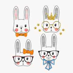 Cute rabbits. Princess, sweet girl, funny bunny. Friends. Vector illustration for print on t-shirt, bag and other uses