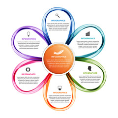 Flower options infographics template. Timeline report. Infographics for business presentations or information banner.