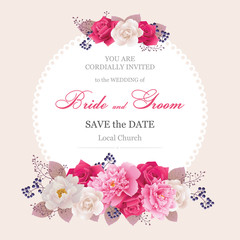Wedding invitation cards with flower.Beautiful white and pink peonies, red and white roses. (Use for Boarding Pass, invitations, thank you card.) Vector illustration. EPS 10