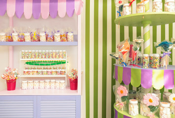 Beautiful interior of candy shop
