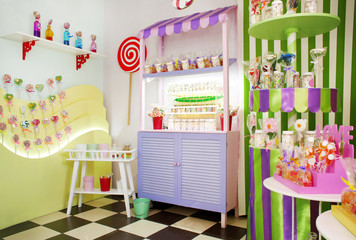 Fototapete - Beautiful interior of candy shop