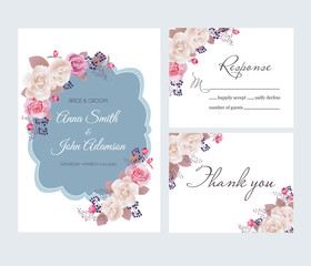 Wedding floral template collection.Wedding invitation, thank you card, save the date cards. Beautiful white and pink roses. Vector illustration. EPS 10