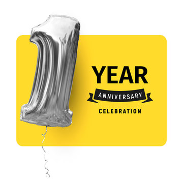 Card greeting template with black logo text and inflatable balloon. First year life, happy birthday, congratulations poster yellow color background. Highlight text invitation on celebration day party