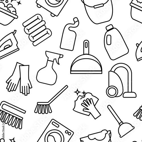 Cleaning, wash seamless pattern  Palm, sunglasses, flip