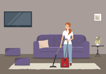 Cleaning in a living room. Young woman with a vacuum cleaner stands on the background of a sofa. There is also a chairs, TV and a table with flowers in the picture. Vector flat illustration.