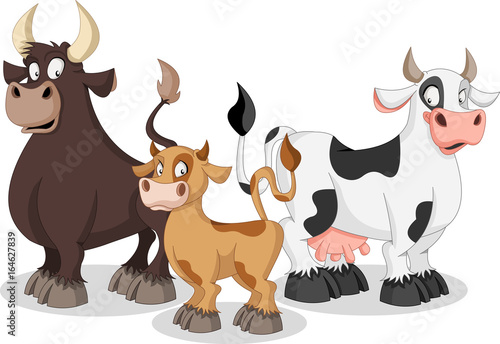 """""""Cartoon cow, calf and bull. Cow family. """" Stock image and ..."""