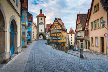 Rothenberg German traditional house with beautiful sunrise sky. Wall mural