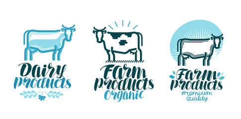 Dairy products, label set. Cow, farm animal, milk, beef icon or logo. Lettering vector illustration