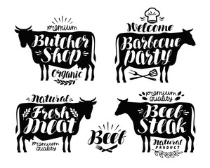 Butcher shop, barbecue party label set. Meat, beef steak, bbq icon or logo. Lettering vector illustration