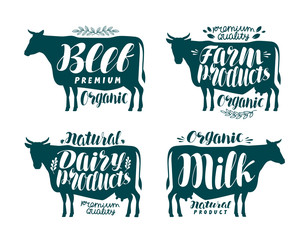 Cow, label set. Milk, beef, dairy products, meat, farm icon or logo. Lettering, calligraphy vector illustration