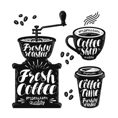 Coffee grinder, espresso label set. Cafe, hot drink, cup icon or logo. Handwritten lettering vector illustration
