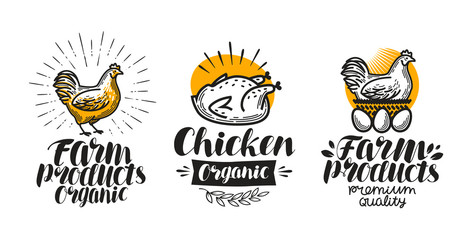 Chicken, hen label set. Poultry farm, egg, meat, broiler, pullet icon or logo. Lettering vector illustration