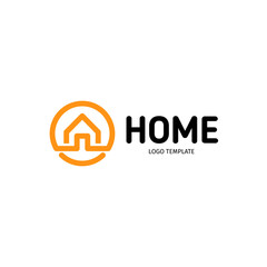Home linear vector logo. Smart house line art orange and black logotype. Outline real estate icon.