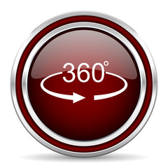 Panorama 360 red glossy icon. Chrome border round web button. Silver metallic pushbutton.