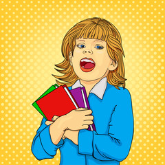 Comic book. Happy little girl with books isolated on background. Back to school concept. Cute pupil with classbooks. Pop art retro style.