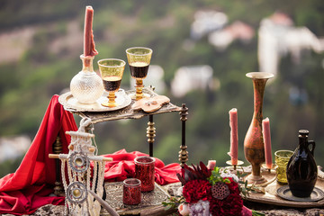 Stylish decor in the style of boho romantic evening for couples in love couple