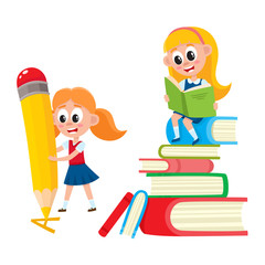 One girl reading on huge book pile, another writing with giant pencil, cartoon vector illustration isolated on white background. Two girls - reading on tall stack of book, drawing with giant pencil