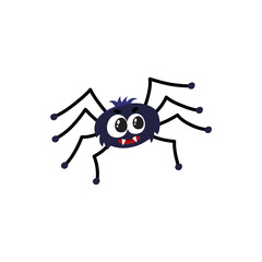 Cute and funny black spider, traditional Halloween symbol, cartoon vector illustration isolated on white background. Cartoon style Halloween spider with wide spread wings, cute little creature