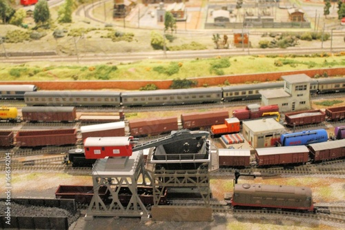 Miniature train station. Train station. The model of the train station in propotion
