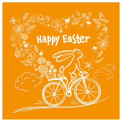Cute Easter rabbit on city bicycle with gift egg in basket. Vector illustration