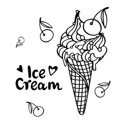 illustration Ice cream with cherry, summertime concept, flat style design of ice cream for card, poster