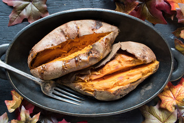 sliced sweet potatoes from above in fall setting