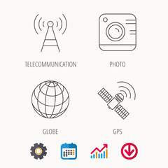 Photo camera, globe and gps satellite icons. Telecommunication station linear sign. Calendar, Graph chart and Cogwheel signs. Download colored web icon. Vector