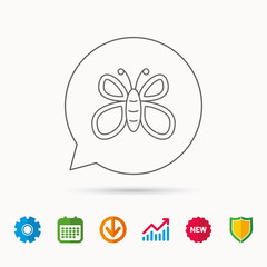 Butterfly icon. Flying lepidoptera sign. Dreaming symbol. Calendar, Graph chart and Cogwheel signs. Download and Shield web icons. Vector