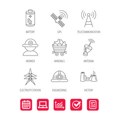 Worker, minerals and engineering helm icons. GPS satellite, electricity station and factory linear signs. Telecommunication, battery icons. Report document, Graph chart and Calendar signs. Vector