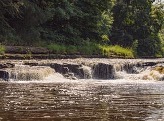 The Lower Falls, Aysgarth waterfalls on beautiful summers day at Aysgarth, Leyburn, North Yorkshire, UK