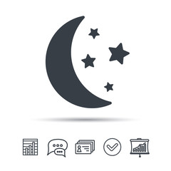 Moon and stars icon. Night sleep symbol. Chat speech bubble, chart and presentation signs. Contacts and tick web icons. Vector