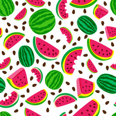 Vector seamless pattern with fresh watermelon isolated on white background. Hand drawn doodle illustration. Trendy design for summer fashion textile prints and backgrounds.