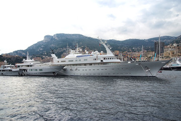 Luxury yachts in Monaco Monte Carlo harbor
