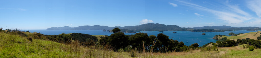 Panorama of Bay of Islands, New Zealand, NZ from Urupukapuka Island