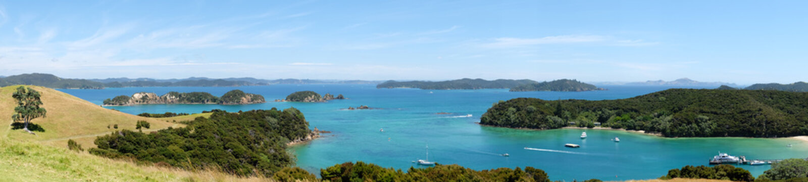 Panoramic view over Otehei Bay and Bay of Islands, New Zealand, NZ from Urupukapuka Island