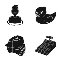 store, progress, hygiene and other web icon in black style. cash, money, trade icons in set collection.