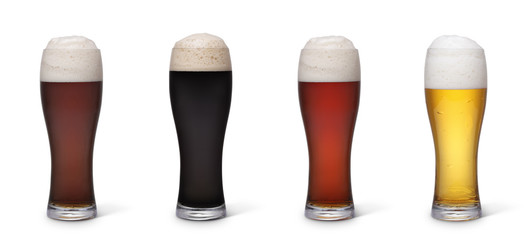 Various types of beer isolated with clipping path